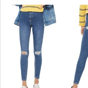Topshop distressed ripped cheeky blue Joni Jeans